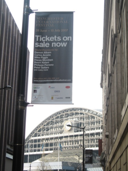 Manchester International Festival 2007; banner advertising tickets - March 2007