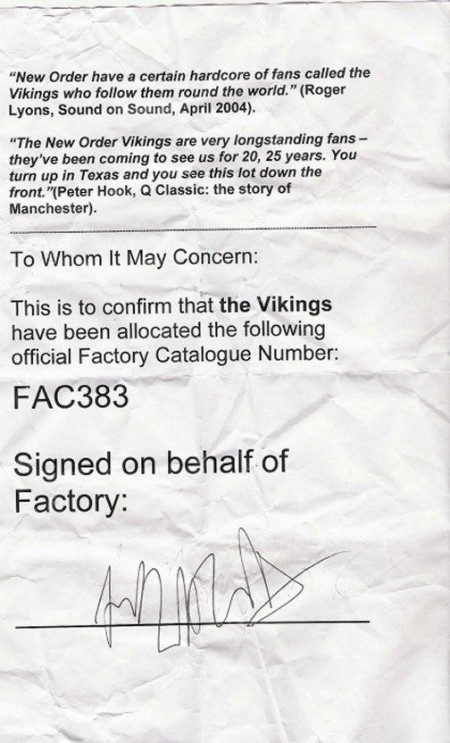 FAC 383 The Vikings; letter of authenticity