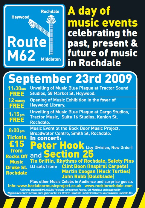 Unveiling the rock music history of Rochdale, Heywood & Middleton; poster