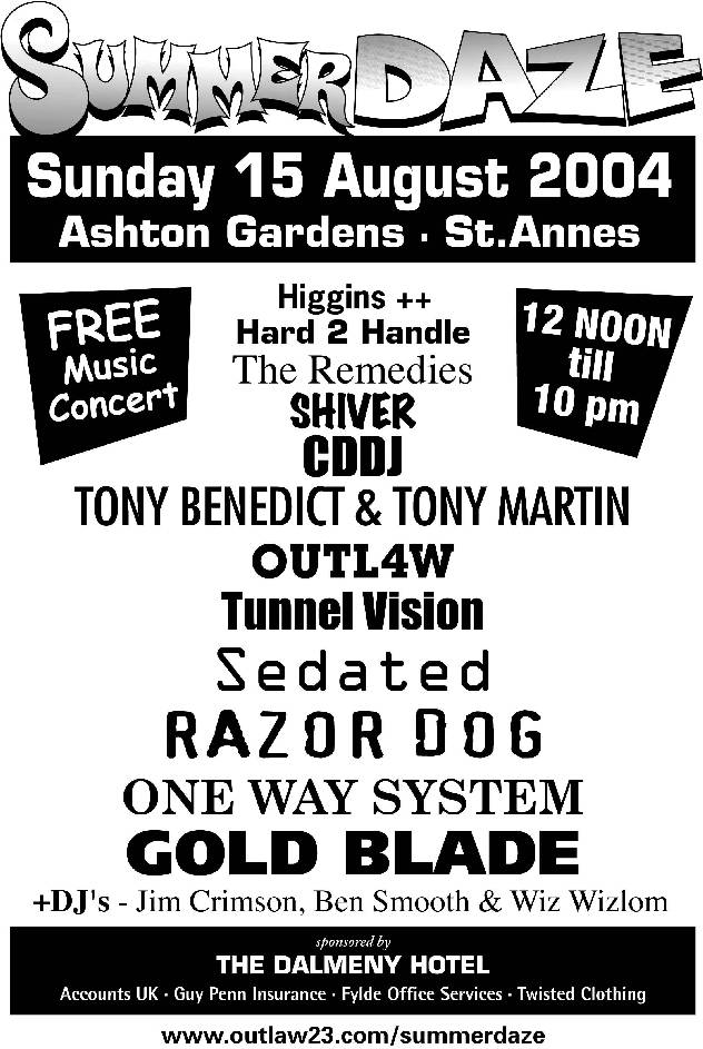 Tunnelvision - Live at Summer Daze, St Annes on Sea 15 August 2004; flyer